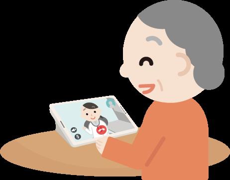 高齢者の女性が女性の医者とビデオ電話しているイラスト1