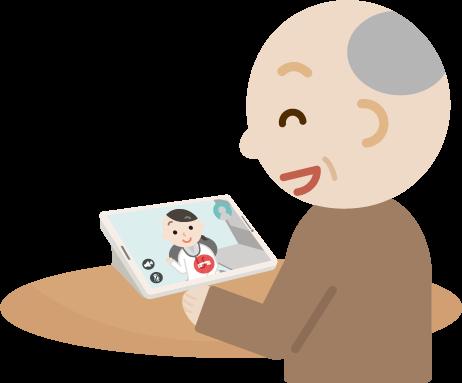 高齢者の男性が女性の医者とビデオ電話しているイラスト1