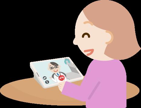若い女性が男性医者とビデオ電話しているイラスト1