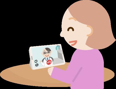 若い女性が男性医者とビデオ電話しているイラスト2