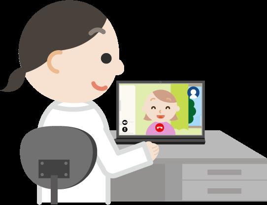 若い女性とビデオ電話している女性医師のイラスト