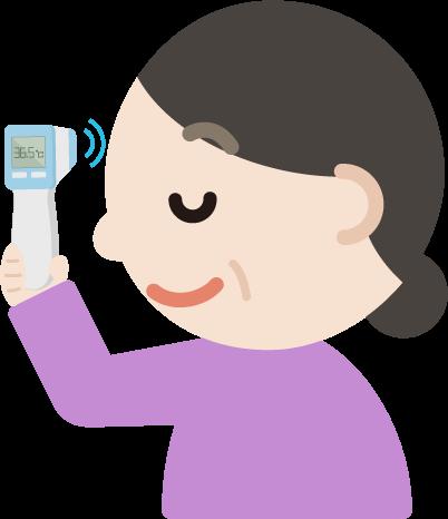 体温を測る中年の女性のイラスト(非接触型体温計)