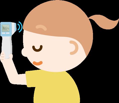 体温を測る女の子のイラスト(非接触型体温計)