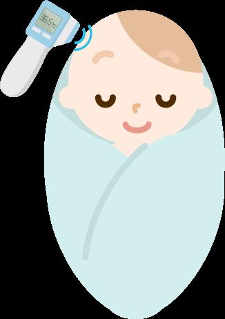 体温を測る赤ちゃんのイラスト(非接触型体温計)