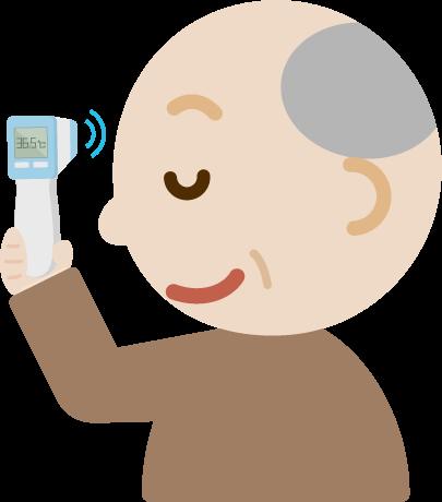 体温を測る高齢者の男性のイラスト(非接触型体温計)