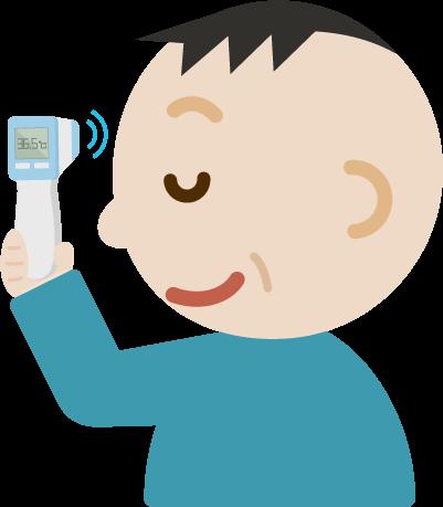 体温を測る中年の男性のイラスト(非接触型体温計)
