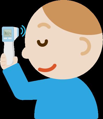 体温を測る若い男性のイラスト(非接触型体温計)