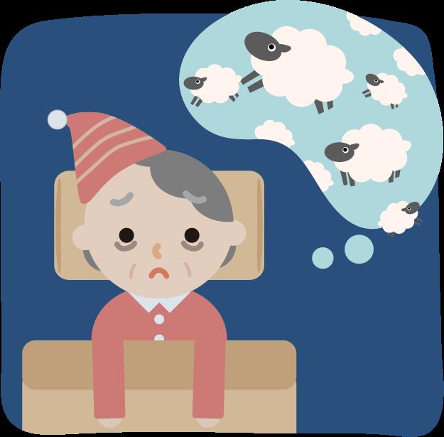 不眠症の高齢者の女性のイラスト2