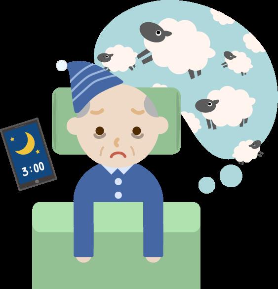 不眠症の高齢者の男性のイラスト1