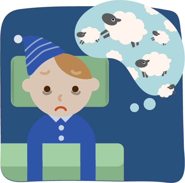 不眠症の若い男性のイラスト2