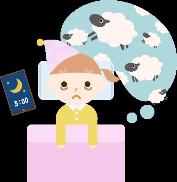 不眠症の女の子のイラスト1