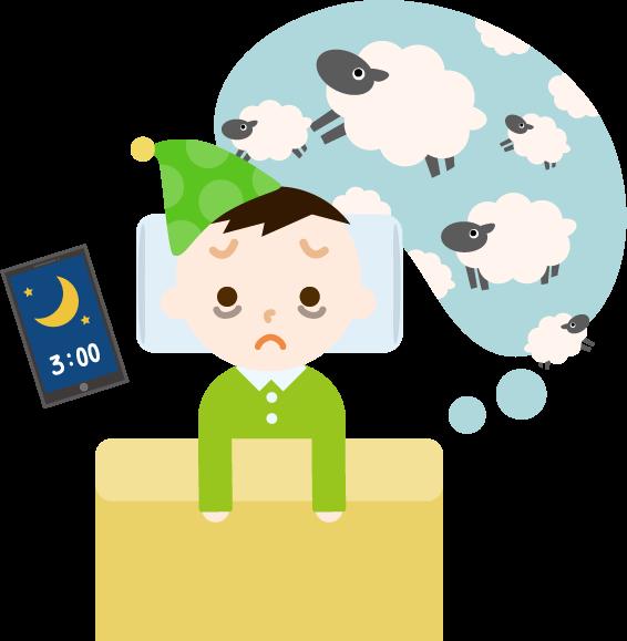 不眠症の男の子のイラスト1