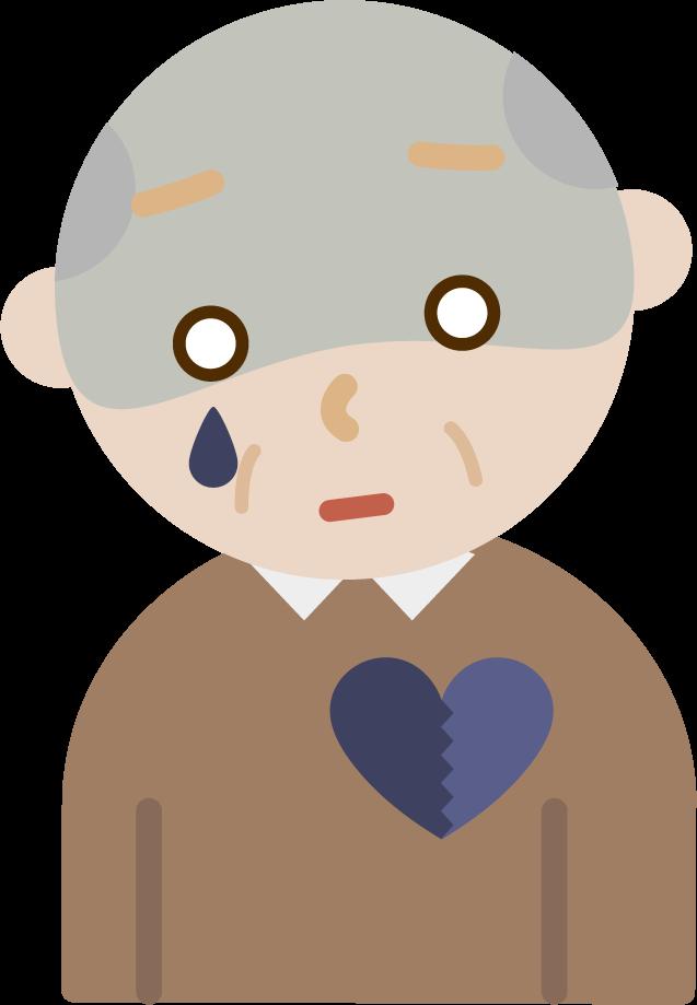 心の病気の高齢者の男性のイラスト