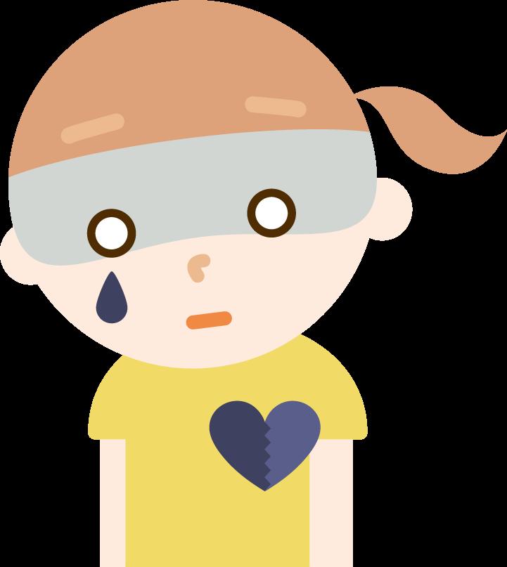 心の病気の女の子のイラスト