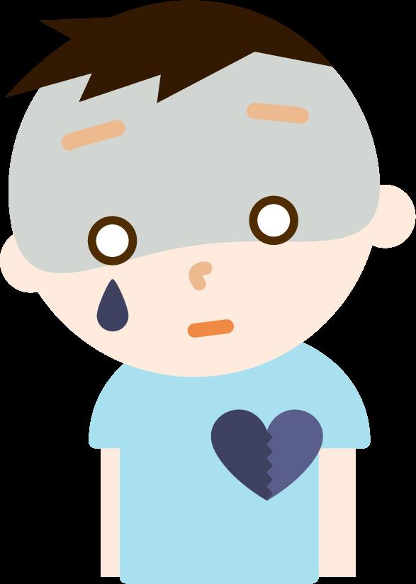 心の病気の男の子のイラスト