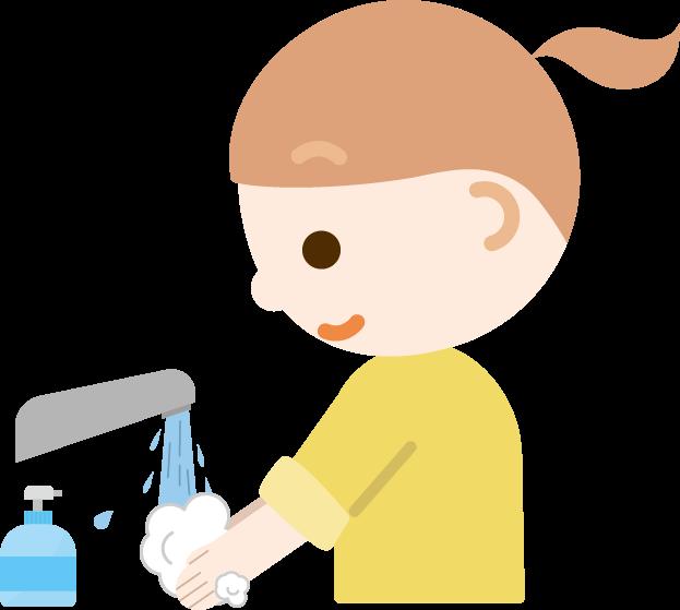 手を洗う女の子のイラスト
