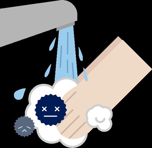 菌・ウイルスを洗うイラスト