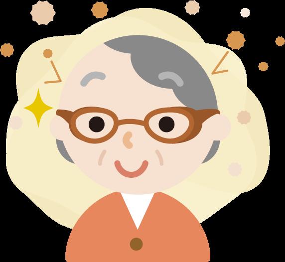 花粉対策メガネをした高齢者の女性のイラスト