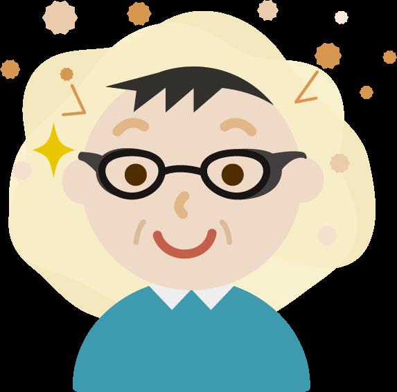 花粉対策メガネをした中年の男性のイラスト