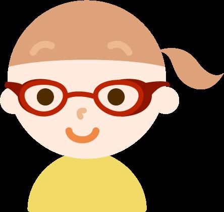花粉症用の眼鏡をした女の子のイラスト