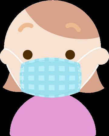 布マスクを着けた若い女性のイラスト
