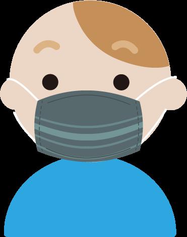 布マスクを着けた若い男性のイラスト