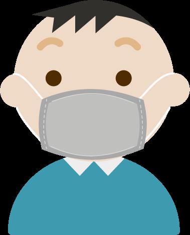 布マスクを着けた中年の男性のイラスト