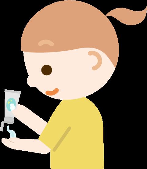 ハンドジェルを塗る女の子のイラスト