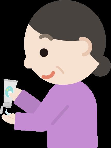 ハンドジェルを塗る中年の女性のイラスト