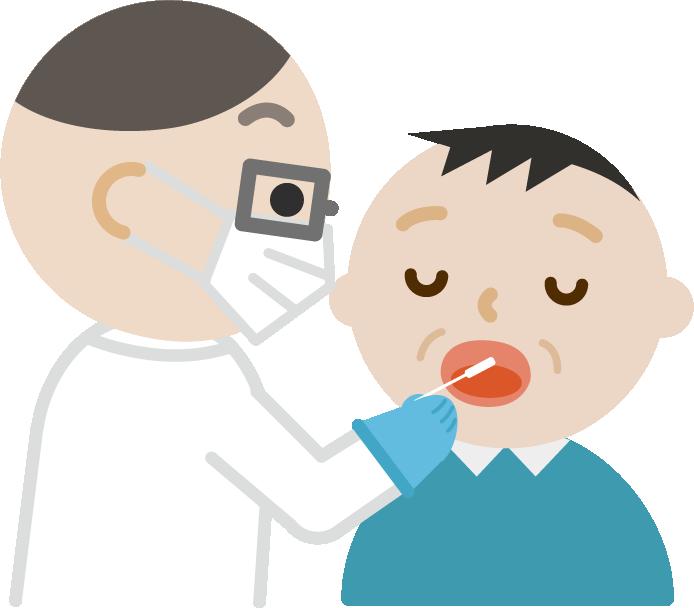 感染症検査をする中年の男性のイラスト(口)
