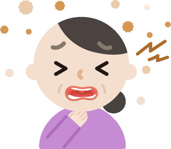 喉が痛い中年の女性のイラスト2