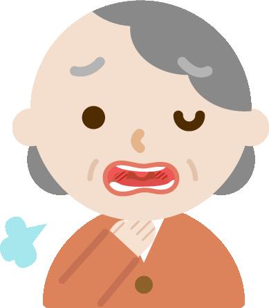 喉痛が辛い高齢者女性のイラスト1