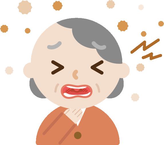 喉痛が辛い高齢者女性のイラスト2