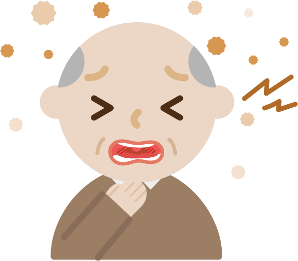 喉を痛めた高齢者男性のイラスト2