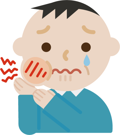 虫歯が痛む中年男性のイラスト1