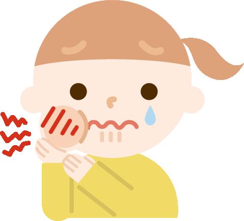 虫歯が痛む女の子のイラスト1