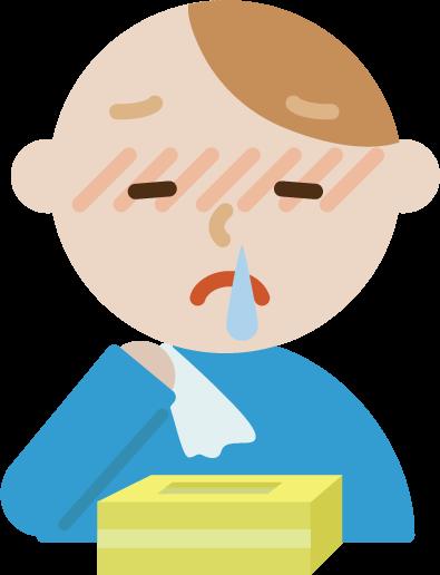 花粉症の若い男性のイラスト(鼻水)