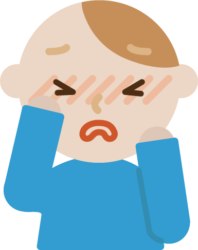 花粉症の若い男性のイラスト(目のかゆみ)