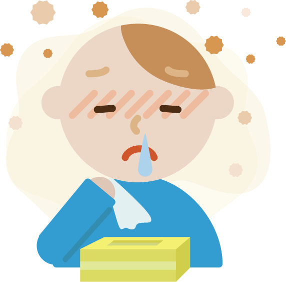花粉症の若い男性のイラスト(鼻水)2