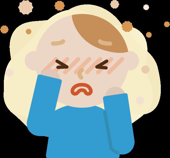 花粉症の若い男性のイラスト(目のかゆみ)2