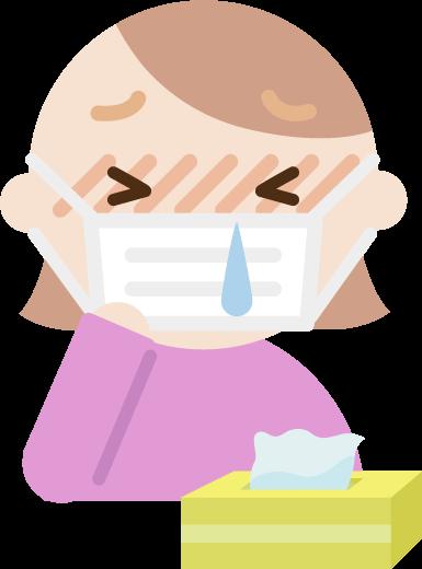 花粉症の若い女性のイラスト(マスク・鼻水)