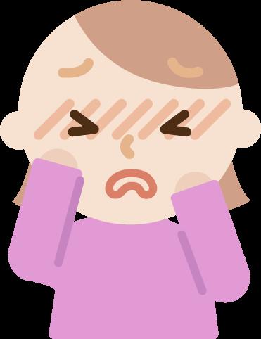 花粉症の若い女性のイラスト(目のかゆみ)