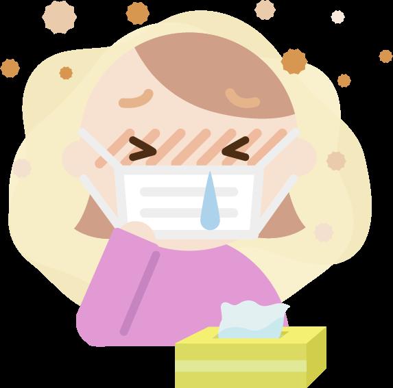 花粉症の若い女性のイラスト(マスク・鼻水)2