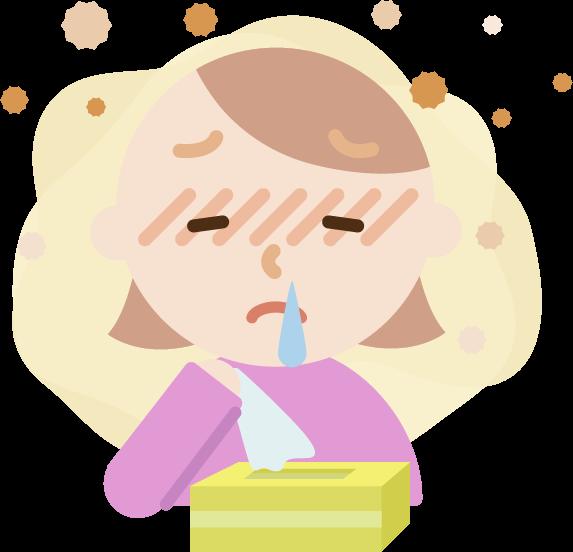 花粉症の若い女性のイラスト(鼻水)2