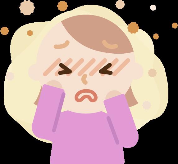 花粉症の若い女性のイラスト(目のかゆみ)2