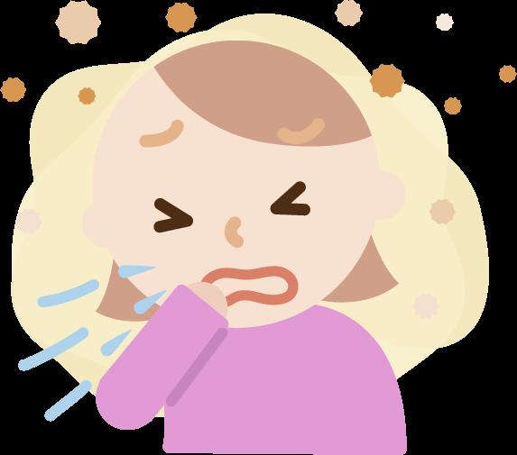 花粉症の若い女性のイラスト(くしゃみ)2