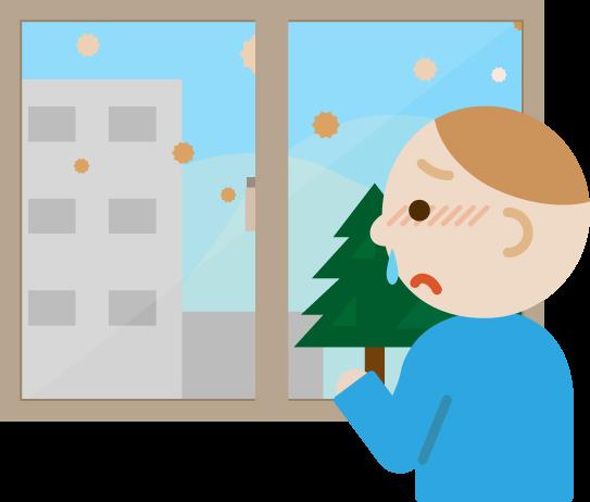 花粉症の若い男性が窓の外を見るイラスト
