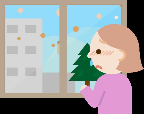 花粉症の若い女性が窓の外を見るイラスト