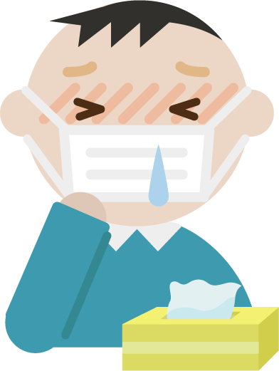 花粉症の中年男性のイラスト(マスク・鼻水)