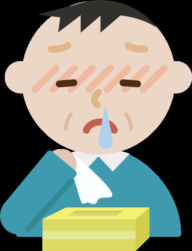 花粉症の中年男性のイラスト(鼻水)